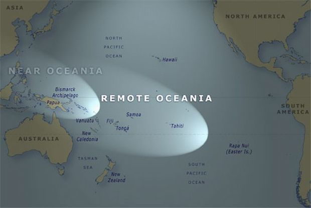 This map shows the areas known as Near and Remote Oceania.