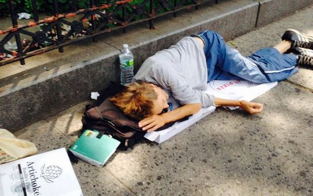 William 'Preston' King sleeps on the streets of New York, after once working as a high-flying stockbroker.