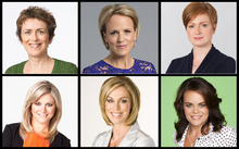 Six portraits of women broadcasters: Mary Wilson (RNZ), Hilary Barry (TV3/Radio Live) Susie Ferguson (RNZ), Toni Street (TVNZ) Wendy Petrie (TVNZ) heather di Plessis-Allen (TV3)