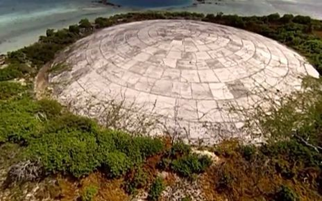The Runit Dome was constructed on Marshall Islands Enewetak Atoll in 1979 to temporarily store radioactive waste produced from nuclear testing by the US military during the 1950s and 1960s.