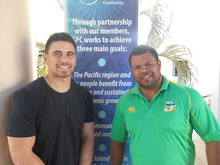 Ben Henry (left) and Dean Widder (right) at the NRL Pasifika Ambassadors workshop in New Caledonia.  Aug 2015