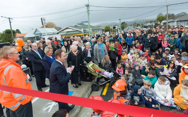 The opening of the Dallington Bridge on Gayhurst Road in Christchurch.