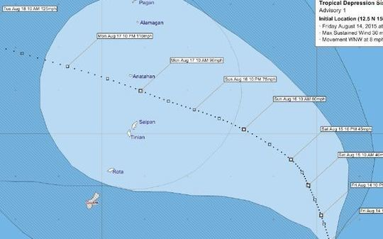 Track of Tropical Depression 16W