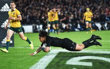 All Blacks' midfielder Ma'a Nonu scoring a try in the 2015 Bledisloe Cup test match at Eden Park.
