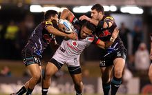 The Warriors Solomone Kata wrapped up by Penrith players