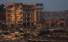 The scene of explosion Tianjin, north China, image taken 15 August.