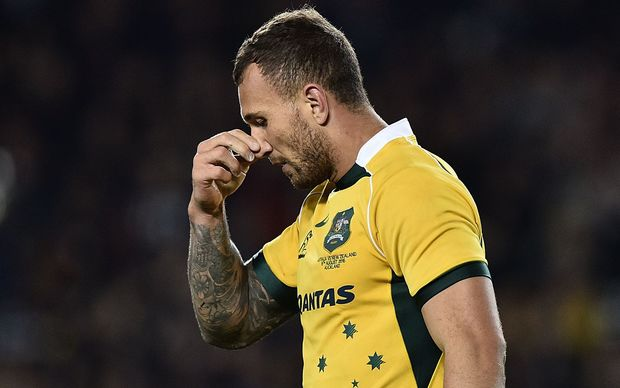 Quade Cooper walks from the field after being issued a yellow card, Auckland 2015.