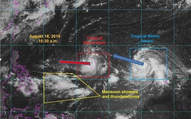 Twin tropical storms move across the Western Pacific.