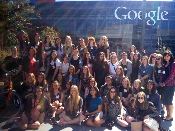 Wellington East Girls' College students at Google.