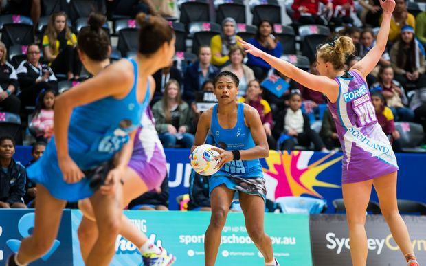 Fiji in action against Scotland at the Netball World Cup in Sydney.