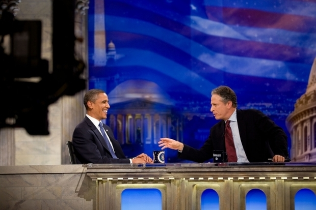 US President Barack Obama tapes an interview for The Daily Show with Jon Stewart October 27, 2010.