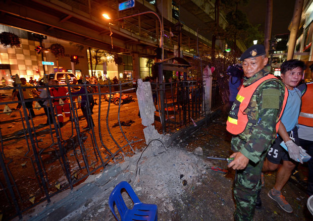 The scene of a bomb explosion outside a religious shrine in central Bangkok late on August 17, 2015