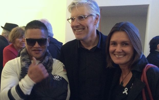 Photographer Nigel Swinn with subjects Teina Pora and Louise Nicholas at the opening of his exhibition No Free Man at the Gus Fisher Gallery