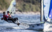 49er stars Peter Burling and Blair Tuke on the water in Rio