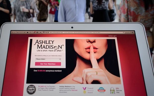 Ashley Madison website page on tablet.