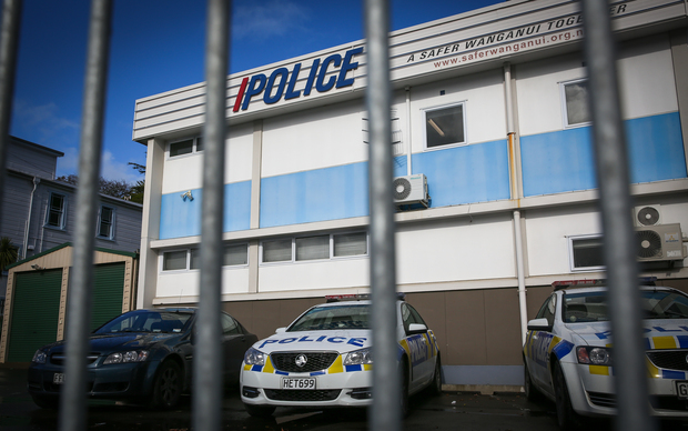 Whanganui police station where the 6 people associated with the central North Island man hunt are being held before their  court appearance this afternoon.