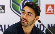 Shaun Johnson talks to media at the NRL Nines press conference, Thursday 20th August