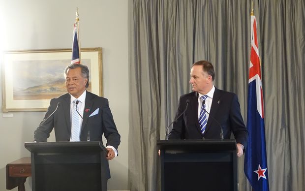 Cook Islands Prime Minister, Henry Puna, with New Zealand Prime Minister, John Key, at Government House in Auckland.