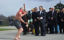 Cook Islands Prime Minister, Henry Puna, is welcomed in front of the Auckland War Memorial Museum.