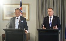 Cook Islands Prime Minister, Henry Puna, and New Zealand Prime Minister, John Key, hold a press conference in Government House in Auckland.