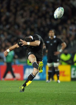All Blacks kicker Stephen Donald kicks the winning penalty during the All Blacks v France IRB Rugby World Cup 2011 final at Eden Park, Auckland, New Zealand on Sunday, 23 October 2011. Photo: Dave Lintott / photosport.co.nz