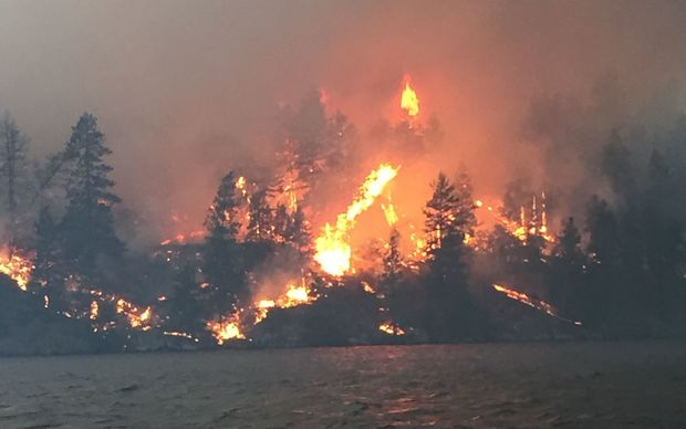 Flames rise into the sky in drought-stricken California.