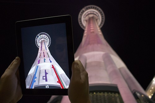 An image of a digital projection onto Auckland's Skytower  by artist Shannon Novak.