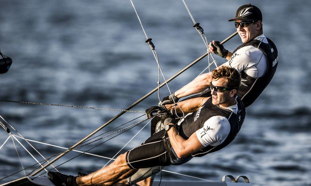 New Zealand 49er sailors Blair Tuke and Peter Burling.