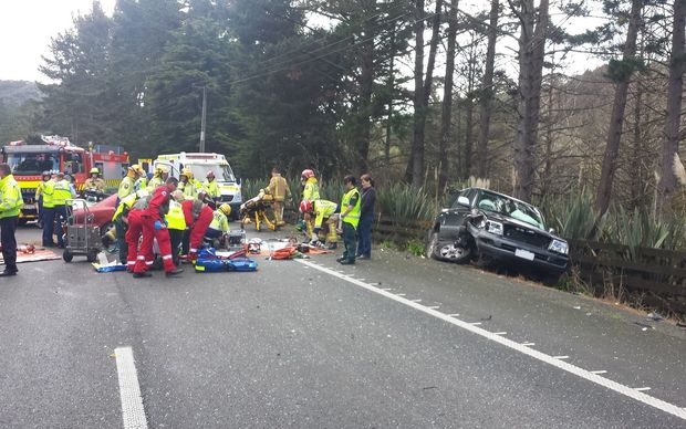 The scene of a serious three-car crash which closed SH1 north of Puhoi.