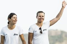 Jo Aleh and Polly Powrie on the podium, Rio, 2015.