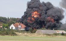 A Hawker Hunter jet crashed into several vehicles below and exploded on August 22, 2015.