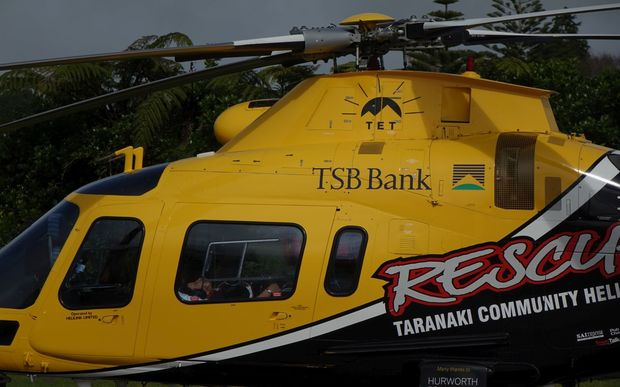 The chopper arriving at Taranaki Base Hospital.