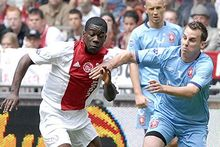 Jeffrey Sarpong (left) playing for Ajax Amsterdam in the Dutch League