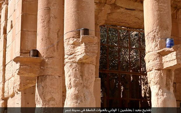 Islamic State has published images of the destruction of the Temple of Baalshamin at the ancient ruins of Palmyra in Syria.