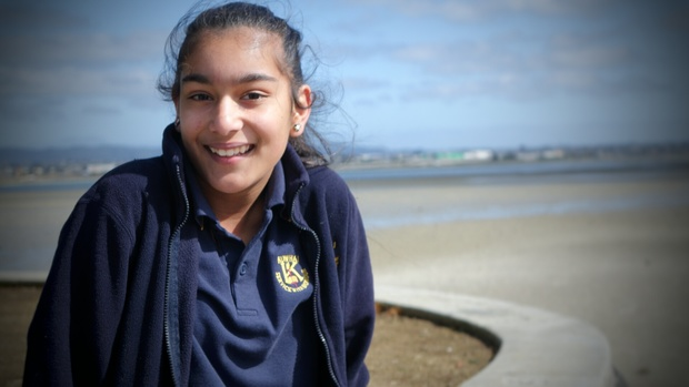 Zainab Aziz, 12, was one of the first to spot the whale in Pt Chevalier.