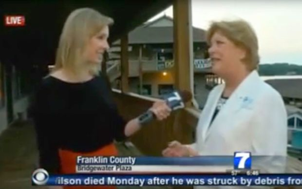 Alison Parker (left) was interviewing chamber of commerce director Vicki Gardner.