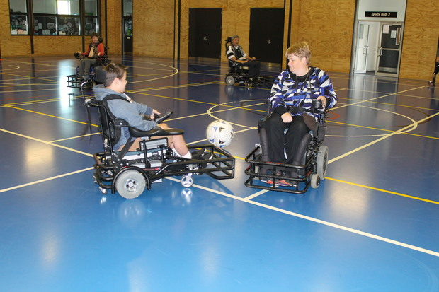 Luke Alderton and Diane Williams. The powerchairs reach up to 10kmph during a fierce competition.