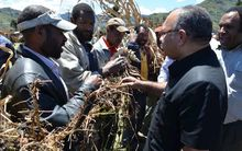 Papua New Guinea's Prime Minister Peter O'Neill meets drought-stricken farmers in the Southern Highlands