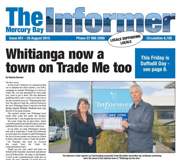 Picture of the front page of the Mercury Bay Informer.