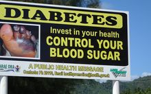 A sign to raise awareness about the dangers of diabetes, a major killer in Pacific Island countries, in Rarotonga, Cook Islands