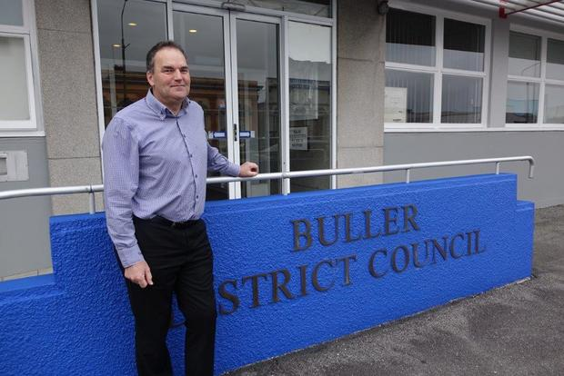 Mayor Garry Howard outside the Buller District Council office in Westport.