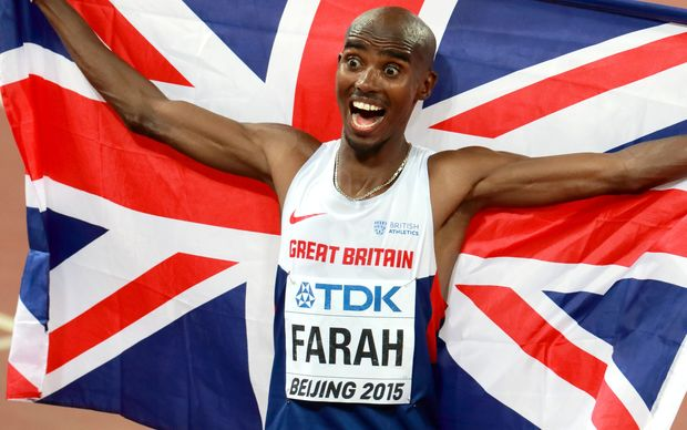 Mohamed Farah of Great Britain celebrates winning the 10000m, Beijing, 2015.