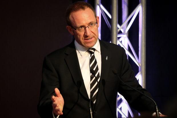 Andrew Little at the All Blacks RWC 2015 squad announcement.