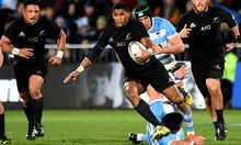 Waisake Naholo on the burst during his test debut against Argentina.