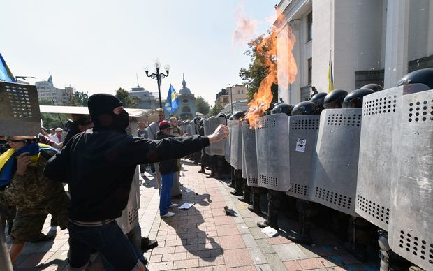 Police and protesters clash outside Ukraine's parliament.