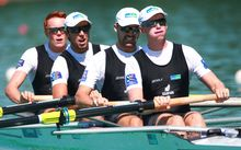 The New Zealand men's four at the 2015 Rowing World Championships, France.
