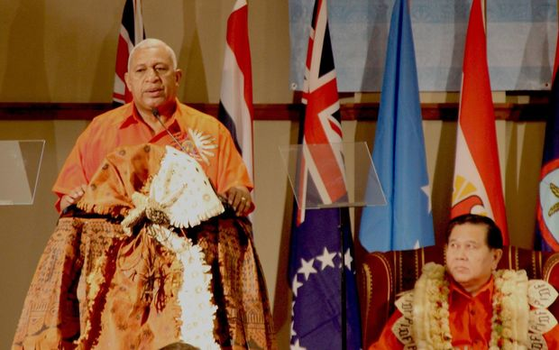 Fiji's Prime Minister, Frank Bainimarama speaking at the Opening Ceremony of the 3rd PIDF Summit.Sep 2015