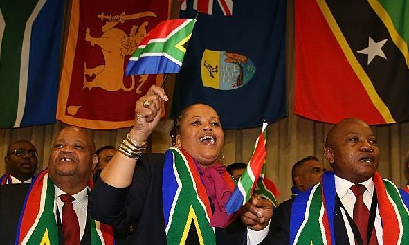 Durban delegates celebrate being awarded the 2022 Commonwealth Games.