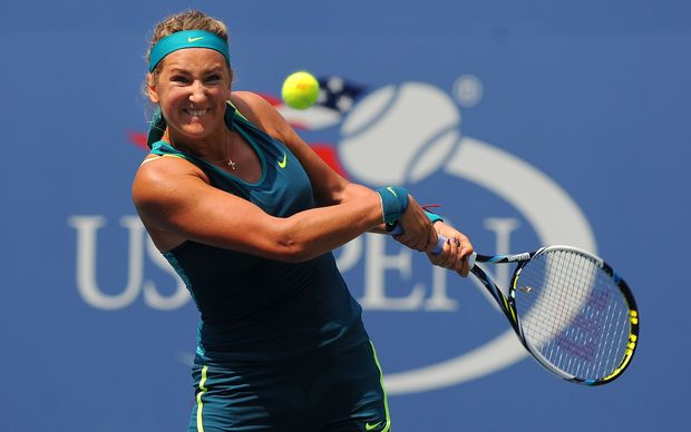 Victoria Azarenka of Belarus concentrates hard on a shot in New York