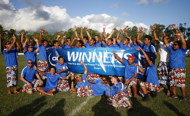 Samoa celebrate winning the first stage of Oceania qualifying for the 2018 Football World Cup.